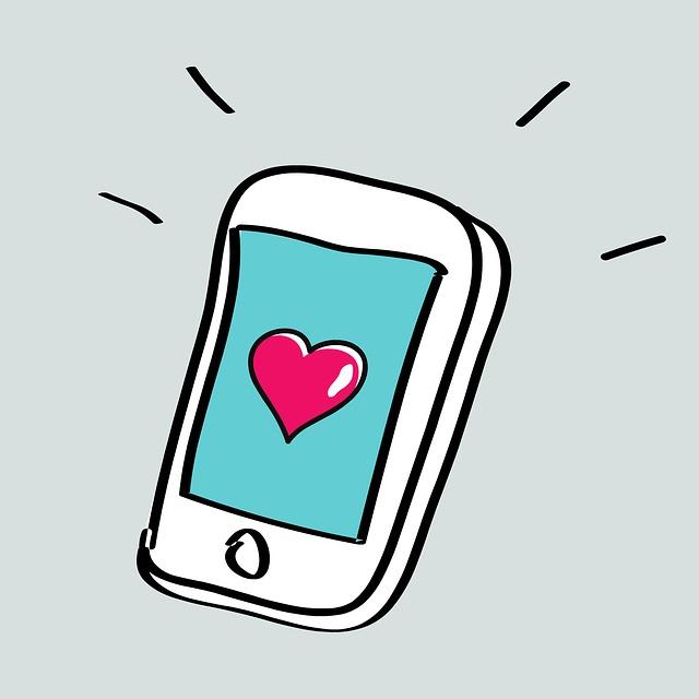 Kreslené srdce na telefonu